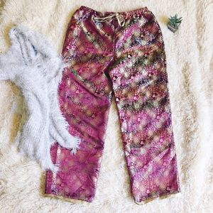 Pants - VINTAGE Iridescent High Waisted  Boho Pants